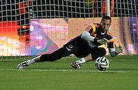 BOGOTA – COLOMBIA -  23-05-2014: David Ospina, portero de la Selección Colombia de futbol en partido durante fiesta de despedida en el estadio Nemesio Camacho el campin de la ciudad de Bogota, Colombia parte hacia La copa Mundo Brasil 2014. / David Ospina, goalkeeper of Colombia soccer team in a math during a farewell party at the stadium Nemesio Camacho El Campin stadium in Bogota city, Colombia travels to the World Cup Brazil 2014. Photo: VizzorImage / Luis Ramirez / Staff.