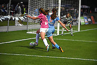 Kansas City, MO - Friday May 13, 2016: FC Kansas City midfielder Heather O'Reilly (9) against Chicago Red Stars defender Katie Naughton (5) during a regular season National Women's Soccer League (NWSL) match at Swope Soccer Village. The match ended 0-0.