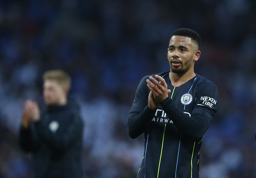 Manchester City's Gabriel Jesus applauds the Manchester City fans at the end of the game<br /> <br /> Photographer Rob Newell/CameraSport<br /> <br /> Emirates FA Cup Semi-Final - Manchester City v Brighton & Hove Allbion - Saturday 6th April 2019 - Wembley Stadium - London<br />  <br /> World Copyright © 2019 CameraSport. All rights reserved. 43 Linden Ave. Countesthorpe. Leicester. England. LE8 5PG - Tel: +44 (0) 116 277 4147 - admin@camerasport.com - www.camerasport.com