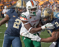 Miami wide receiver Herb Waters (6). The Miami Hurricanes football team defeated the Pitt Panthers 29-24 on  Friday, November 27, 2015 at Heinz Field, Pittsburgh, Pennsylvania.