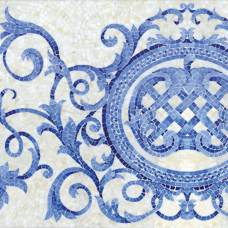 Perrault, a hand-cut mosaic shown in Quartz, Lapis Lazuli, Blue Spinel and Mica jewel glass.