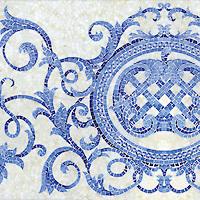Perrault, a hand-cut jewel glass mosaic, shown in Quartz, Covellite, Iolite, and Lapis Lazuli.