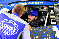 July 15, 2017 - Loudon, New Hampshire, U.S. - Jimmie Johnson, Monster Energy NASCAR Cup Series driver of the Lowe's Chevrolet (48), sits in his car during the NASCAR Monster Energy Overton's 301 practice round held at the New Hampshire Motor Speedway in Loudon, New Hampshire. Larson placed first in the qualifier. Eric Canha/CSM