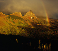 Rainbow over Garden Wall as seen from Granite Park,GLACIER NATIONAL PARK, Montana