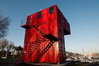 "Luc Deleu's installation ""Orbino en Orban Space Project"" in Zeebrugge in the Beaufort 03 Triennial for Contemporary Art by the Sea (Belgium, 29/03/2009)"