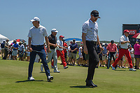 Jimmy Walker (USA) and Jordan Spieth (USA) head down 2 during round 1 of the AT&T Byron Nelson, Trinity Forest Golf Club, at Dallas, Texas, USA. 5/17/2018.<br /> Picture: Golffile | Ken Murray<br /> <br /> <br /> All photo usage must carry mandatory copyright credit (© Golffile | Ken Murray)