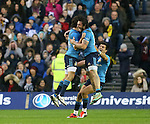 Enrico Bacchin of Italy celebrates the win by jumping up with Michele Visentin of Italy - RBS 6Nations 2015 - Scotland  vs Italy - BT Murrayfield Stadium - Edinburgh - Scotland - 28th February 2015 - Picture Simon Bellis/Sportimage