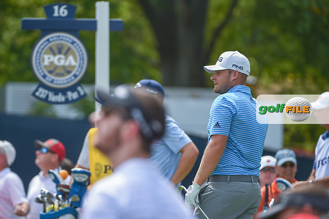 Tyrell Hatton (ENG) watches his tee shot on 16 during 1st round of the 100th PGA Championship at Bellerive Country Club, St. Louis, Missouri. 8/9/2018.<br /> Picture: Golffile | Ken Murray<br /> <br /> All photo usage must carry mandatory copyright credit (© Golffile | Ken Murray)