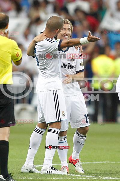 Real Madrid's Pepe and Luka Modric during Spanish Supercup 2nd match on august 29 2012...Photo: Cebola / Cid-Fuentes / ALFAQUI /NortePhoto.com<br /> <br /> **CREDITO*OBLIGATORIO** <br /> *No*Venta*A*Terceros*<br /> *No*Sale*So*third*<br /> *** No*Se*Permite*Hacer*Archivo**<br /> *No*Sale*So*third*