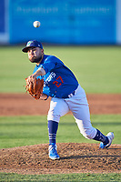 Ogden Raptors starting pitcher Antonio Hernandez (27) delivers a pitch to the plate against the Orem Owlz at Lindquist Field on July 27, 2019 in Ogden, Utah. The Raptors defeated the Owlz 14-1. (Stephen Smith/Four Seam Images)