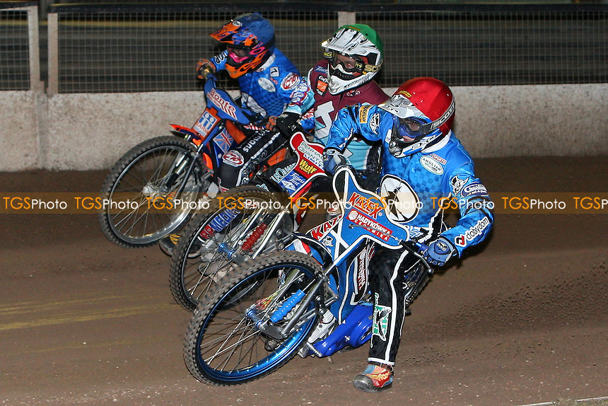 Heat 2: Dawid Stachyra (red), Phil Morris (green) and Kozza Smith - Ipswich Witches vs Lakeside Hammers - Speedway Challenge Match First Leg at Foxhall Stadium, Ipswich, Suffolk - 19/03/09 - MANDATORY CREDIT: Gavin Ellis/TGSPHOTO - Self billing applies where appropriate - 0845 094 6026 - contact@tgsphoto.co.uk - NO UNPAID USE.