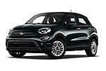 Stock pictures of low aggressive front three quarter view of 2019 Fiat 500-X Cross 5 Door SUV Low Aggressive