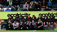 MK Dons Manager, Robbie Neilson with his coaching staff and substitutes during Forest Green Rovers vs MK Dons, Caraboa Cup Football at The New Lawn on 8th August 2017