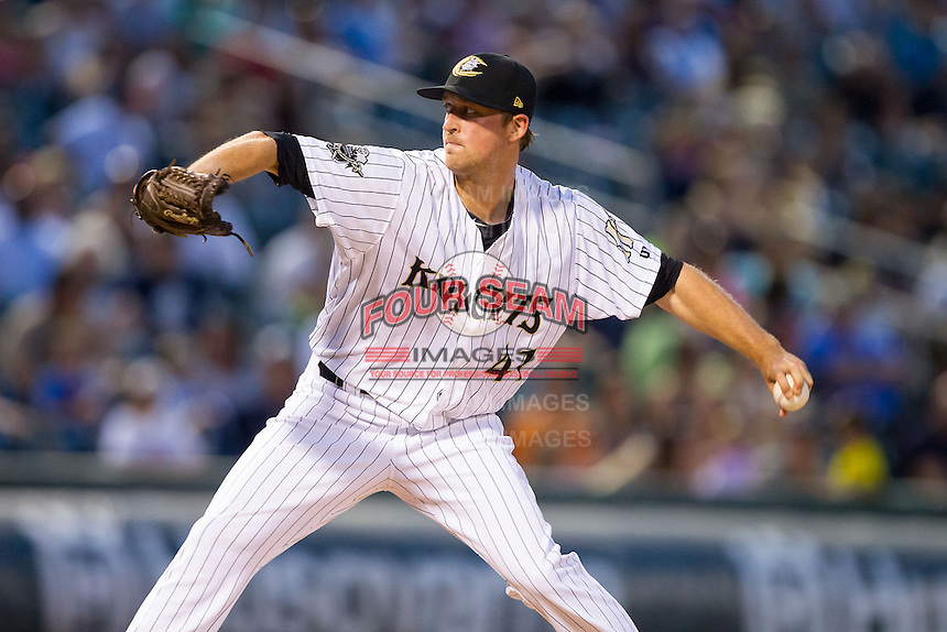 Charlotte Knights starting pitcher Charlie Leesman (41) in action against the Rochester Red Wings at BB&T Ballpark on June 5, 2014 in Charlotte, North Carolina.  The Knights defeated the Red Wings 7-6.  (Brian Westerholt/Four Seam Images)