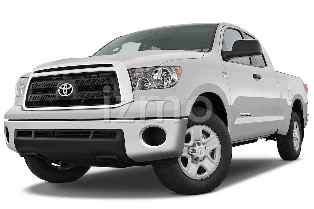 Low aggressive front three quarter view of a 2010 Toyota Tundra Double Cab 2WD.