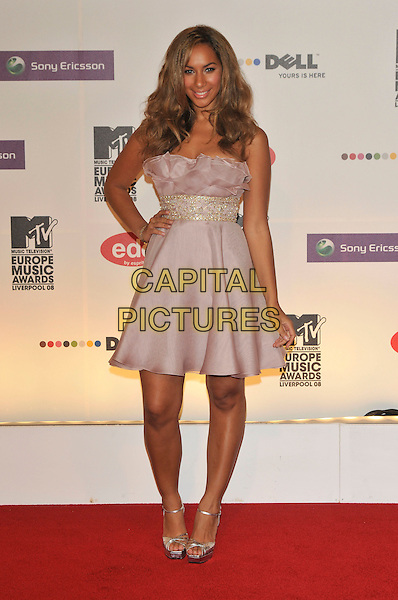 LEONA LEWIS.2008 MTV Europe Music Awards arrivals at Echo Arena, Liverpool, England..6th November 2008.EMA full length pink lilac purple strapless dress hand on hip.CAP/PL.©Phil Loftus/Capital Pictures.