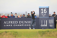 Joakim Lagergren (SWE) on the 16th tee during Round 4 of the Alfred Dunhill Links Championship 2019 at St. Andrews Golf CLub, Fife, Scotland. 29/09/2019.<br /> Picture Thos Caffrey / Golffile.ie<br /> <br /> All photo usage must carry mandatory copyright credit (© Golffile | Thos Caffrey)