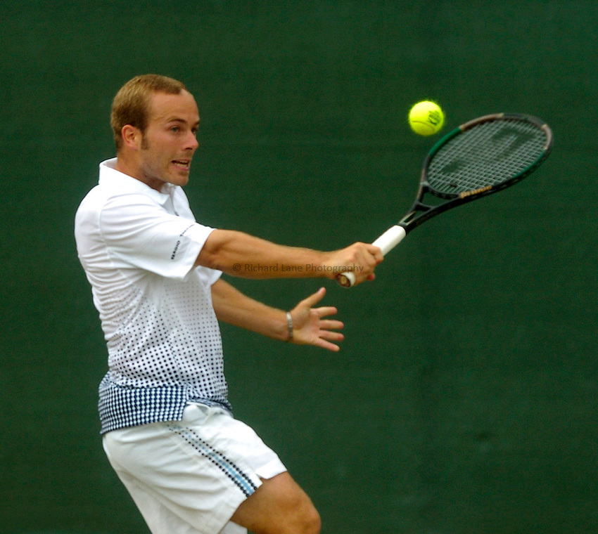 Photo. Glyn Thomas. .Nottingham Open Tennis, day 2..15/06/2004..Olivier Rochus plays a backhand shot.