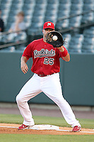 Memphis Redbirds first baseman Nick Stavinoha #25 during a game versus the Round Rock Express at Autozone Park on April 29, 2011 in Memphis, Tennessee.  Round Rock defeated Memphis by the score of 5-4 in 13 innings.  Photo By Mike Janes/Four Seam Images