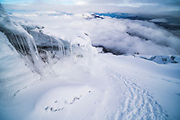 Ice formations and icicles on Cotopaxi Volcano, Cotopaxi National Park, Cotopaxi Province, Ecuador