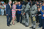 Queen Mathilde of Belgium and King Philippe - Filip of Belgium visit the Warandeparc and congratulate the special force against terrorism during Belgium's National Day, in Brussels.<br /> Brussels, 21 July 2015, Belgium<br /> Pics: Queen Mathilde of Belgium