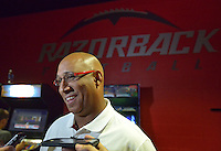 NWA Democrat-Gazette/BEN GOFF • @NWABENGOFF<br /> Michael Smith, wide receivers coach, speaks to the media on Sunday Aug. 9, 2015 during Arkansas football media day at the Fred W. Smith Football Center in Fayetteville.