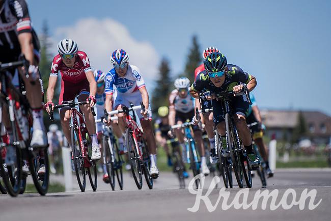 Victor De La Parte (ESP/Movistar) tucked in while descending the Passo Monte Croce Comelico / Kreuzbergpass (1636m)<br /> <br /> Stage 19: San Candido/Innichen &rsaquo; Piancavallo (191km)<br /> 100th Giro d'Italia 2017