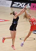 10th September 2017, PG Arena, Napier, New Zealand; Taini Jamison Netball Trophy, New Zealand versus England;  New Zealands Katrina Grant contests the ball with Englands Helen Housby