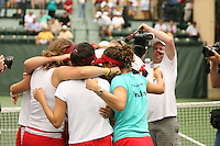 23 May 2006: Anne Yelsey and the team celebrate after Stanford's 4-1 win over the Miami Hurricanes in the 2006 NCAA Division 1 Women's Tennis Team Championships at the Taube Family Tennis Stadium in Stanford, CA.