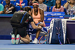 Sloane Stephens of United Sates receives medical treatment during the singles Round Robin match of the WTA Elite Trophy Zhuhai 2017 against Barbora Strycova of Czech Republic at Hengqin Tennis Center on November  03, 2017 in Zhuhai, China.  Photo by Yu Chun Christopher Wong / Power Sport Images