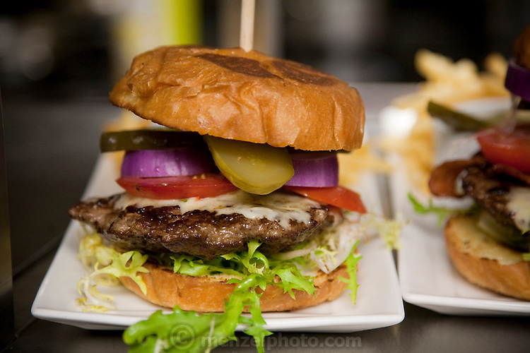 A hamburger from the restaurant at CN Tower in Toronto, Canada, where Neil Jones works as a director of operations. (Neil Jones is featured in the book What I Eat: Around the World in 80 Diets.)
