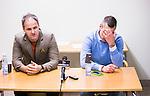 S&ouml;dert&auml;lje 2014-11-09 Fotboll Kval till Superettan Assyriska FF - &Ouml;rgryte IS :  <br /> Assyriskas tr&auml;nare Azrudin Valentic  och &Ouml;rgrytes tr&auml;nare Marcus Lantz som ser nedst&auml;md ut p&aring; presskonferensen efter matchen mellan Assyriska FF och &Ouml;rgryte IS <br /> (Foto: Kenta J&ouml;nsson) Nyckelord:  S&ouml;dert&auml;lje Fotbollsarena Kval Superettan Assyriska AFF &Ouml;rgryte &Ouml;IS portr&auml;tt portrait tr&auml;nare manager coach depp besviken besvikelse sorg ledsen deppig nedst&auml;md uppgiven sad disappointment disappointed dejected