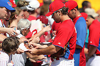 Philadelphia Phillies Matt Miller #87 signs autographs before a scrimmage vs the Florida State Seminoles  at Bright House Field in Clearwater, Florida;  February 24, 2011.  Philadelphia defeated Florida State 8-0.  Photo By Mike Janes/Four Seam Images