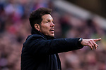 Coach Diego Simeone of Atletico de Madrid gestures during the La Liga 2017-18 match between Atletico de Madrid and Athletic de Bilbao at Wanda Metropolitano  on February 18 2018 in Madrid, Spain. Photo by Diego Souto / Power Sport Images