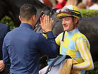 "October 07, 2018 : #2 Silver Strike and jockey Julien Leparoux win the 1st running of The Indian Summer $200,000 ""Win and You're In Breeders' CupJuvenile Turf Sprint Division"" for trainer Mark Casse and owner John Oxley  at Keeneland Race Course on October 07, 2018 in Lexington, KY.  Candice Chavez/ESW/CSM"