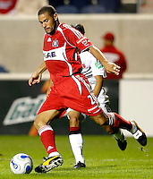 Chicago Fire defender C.J. Brown (2) clears the ball.  The Chicago Fire defeated the DC United 3-0 in the semifinals of the U.S. Open Cup at Toyota Park in Bridgeview, IL on September 6, 2006...