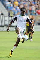 Emmanuel Osei (5) of the New England Revolution. The Philadelphia Union and the New England Revolution  played to a 1-1 tie during a Major League Soccer (MLS) match at PPL Park in Chester, PA, on July 31, 2010.