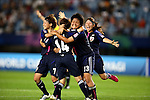 (L-R) Nozomi Fujita, Hanae Shibata, Ayaka Michigami, Ayu Nakada (JPN), AUGUST 19, 2012 - Football / Soccer : Hanae Shibata of Japan celebrates her goal during the FIFA U-20 Women's World Cup Japan 2012 Group A match between Japan 4-1 Mexico at Miyagi Stadium in Miyagi, Japan. (Photo by Toshihiro Kitagawa/AFLO)