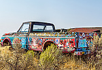 Colorfully painted broken down pickup truck, Harney County, Oregon