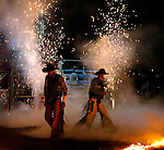 pvc032709j/3-27-09/asec. Pyrotechnics are set off as the bull riders are introduced at the start of the Ty Murray Invitational at The Pit, photographed Friday March 27, 2009.  (Pat Vasquez-Cunningham/Journal)