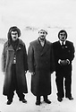 Iran 1946 .In Mahabad, Qazi Mohammed , in the middle with  left, Hajar Charafkandi and right, Hemen Mukriyani, 2 Kurdish Iranian poets.Iran 1946.A Mahabad, au centre Qazi Mohammed  avec a gauche, Hajar Charafkandi et a droite, Hemen Mukriyani, 2 poetes kurdes iraniens