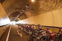 The peloton through a tunnel during the stage of La Vuelta 2012 between Lleida-Lerida and Collado de la Gallina (Andorra).August 25,2012. (ALTERPHOTOS/Paola Otero) /NortePhoto.com<br /> <br /> **CREDITO*OBLIGATORIO** <br /> *No*Venta*A*Terceros*<br /> *No*Sale*So*third*<br /> *** No*Se*Permite*Hacer*Archivo**<br /> *No*Sale*So*third*