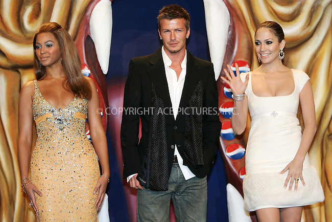 WWW.ACEPIXS.COM . . . . .  ... . . . . US SALES ONLY . . . . .....MADRID, FEBRUARY 23, 2005....Beyonce Knowles, David Beckham and Jennifer Lopez in Madrid to launch the Pepsi Spot campaign which took place at the Circulo De Bellas Artes.....Please byline: FAMOUS-ACE PICTURES-D. SOUTO... . . . .  ....Ace Pictures, Inc:  ..Philip Vaughan (646) 769-0430..e-mail: info@acepixs.com..web: http://www.acepixs.com