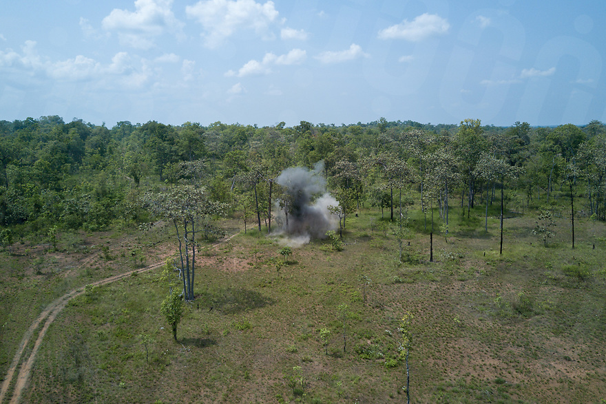 "April 27, 2017 - Banlung (Cambodia). The blast from the explosion of two ""bombies"" that were recovered by the team in the previous days near Phum Bei village. During this delicate operation, the team has to be sure that no one gets closer than 200 meters to the blasting site as fragments and shrapnel can be fatal. © Thomas Cristofoletti / Ruom"