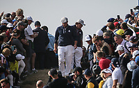 Bryson Dechambeau (Team USA) puts Phil Mickelson (Team USA) in a ridiculous location away from the 7th during Friday's Foursomes, at the Ryder Cup, Le Golf National, Île-de-France, France. 28/09/2018.<br /> Picture David Lloyd / Golffile.ie<br /> <br /> All photo usage must carry mandatory copyright credit (© Golffile | David Lloyd)