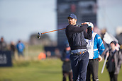 6th October 2017, Carnoustie Golf Links, Carnoustie, Scotland; Alfred Dunhill Links Championship, second round; Former Liverpool and England footballer Jamie Redknapp tees off on the fourth hole on the Championship Links, Carnoustie during the second round at the Alfred Dunhill Links Championship