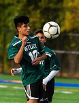 WATERBURY,  CT-101619JS21-  Wilby's Rodney Delgado (10) settles the ball during their NVL game against Sacred Heart Thursday at Municipal Stadium in Waterbury. <br />  Jim Shannon Republican-American