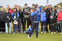 Conor Gough (GB&I) on the 5th during the Foursomes at the Walker Cup, Royal Liverpool Golf CLub, Hoylake, Cheshire, England. 07/09/2019.<br /> Picture Thos Caffrey / Golffile.ie<br /> <br /> All photo usage must carry mandatory copyright credit (© Golffile | Thos Caffrey)