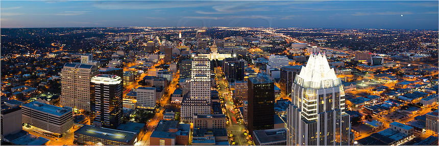 Featuring the iconic Texas State Capitol, this skyline panorama of Austin faces north. You can also see the well-known UT Tower and the Frost Bank Tower.