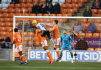 Burton Albion's Lucas Akins is denied a chance on goal by Blackpool's Armand Gnanduillet (left) and Ben Heneghan<br /> <br /> Photographer Stephen White/CameraSport<br /> <br /> The EFL Sky Bet League One - Blackpool v Burton Albion - Saturday 24th November 2018 - Bloomfield Road - Blackpool<br /> <br /> World Copyright © 2018 CameraSport. All rights reserved. 43 Linden Ave. Countesthorpe. Leicester. England. LE8 5PG - Tel: +44 (0) 116 277 4147 - admin@camerasport.com - www.camerasport.com